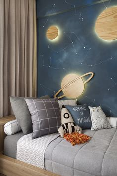 Kids Bedroom Designs, Baby Room Design, Boys Bedroom Decor, Bedroom Themes, Baby Room Decor, Teen Bedroom, Outer Space Bedroom, Boys Space Bedroom, Baby Boy Rooms