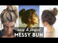 10 MESSY BUN hairstyles for back to school, party, everyday Quick and easy hair tutorial Messy Bun For Short Hair, Cute Messy Buns, Perfect Messy Bun, Messy Bun With Braid, Messy Hair Look, Perfect Ponytail, Simple Bridal Hairstyle, Chignon Simple, Simple Bun