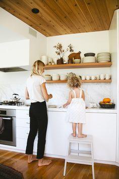 Moden minimalist kitchen.  Douglass fir, white, marble | Jessica Deruiter
