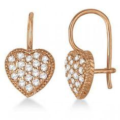 Euro Wire Diamond Heart-Shape Earrings 14K Rose Gold (0.50ct)
