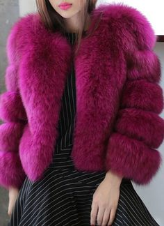 Chic Round Collar Long Sleeve Solid Color Faux Fur Coat