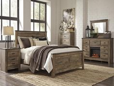 MB60 Vintage Brown Queen Bed, Dresser with LED Fireplace, Mirror & Nightstand,Taft Furniture Showcase