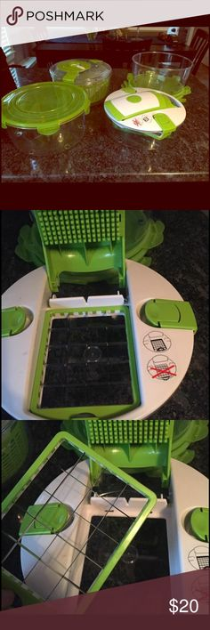 Salad Spinner Complete Set with Mandoline Slicer Complete salad spinner includes an easy turn handle and interchangeable blades including the mandoline slicer lid attachment to quickly chop vegetables. Slice and grate directly into a bowl to quickly assemble your salad. Easy to use: spin, drain, serve and store. Only used about three times. Good product - just doesn't get enough use in my house to keep. Other