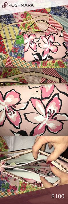 Kate Spade Carolyn Hawthorne Lane Crossbody pink This is a gorgeous Kate Spade NWT Carolyn Hawthorne Lane Floral Crossbody Bag. Perfect for spring!  Great room inside for your phone, cash, keys, lipgloss. Any questions just ask. kate spade Bags Crossbody Bags