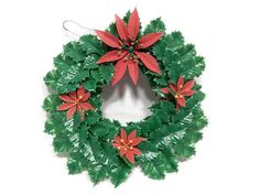 Vintage Plastic Christmas Wreath Red and Green by RascalsRarities Poinsettia Wreath, Christmas Ornament Wreath, Christmas Wreaths, Christmas In July, Christmas Items, Selling On Ebay, Kitsch, Mall, Vintage Items