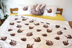 Handmade sloth bedding, sloth duvet cover, sloth bedsheets