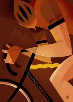 """Maratona dles Dolomites - Enel 2017. Riccardo """"Rik"""" Guasco (1975) - GrissinBon (2016). Illustratore e artista, Rik per i trent'anni della manifestazione, ha realizzato trenta tavole dedicate ai momenti più caratterizzanti della corsa: partenza, arrivo, passi, ciclisti, montagne, volontari, sponsor, alberi, nuvole, strade, folla, bici, entusiasmo, sole, fatica, ristori…"""