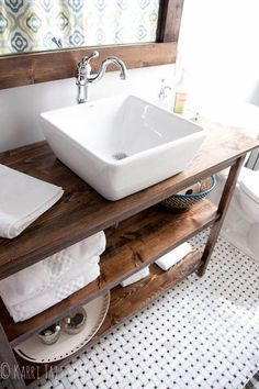 DIY bathroom remodel rustic industrial custom vanity with vessel sink- love the vanity/look for the basement bathroom with grey accent Bad Inspiration, Bathroom Inspiration, Bathroom Ideas, Bathroom Vanities, Wood Bathroom, Budget Bathroom, Natural Bathroom, Basement Bathroom, Bathroom Modern
