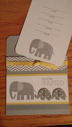 Stampin' Up! Zoo Babies shower invitation, by N. Rankin