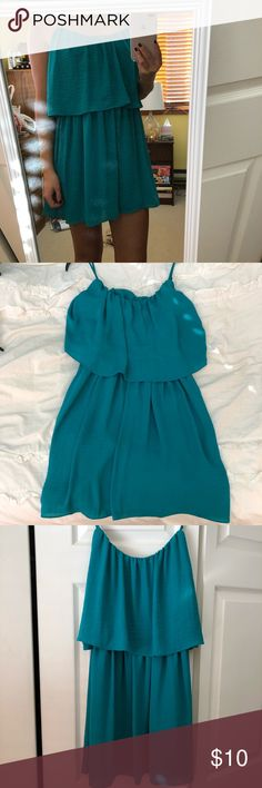Teal flounce dress Size small. Worn once. Lightweight dress. For height reference, I'm 5'7 Forever 21 Dresses Mini