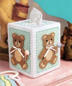 Nursery Bears Tissue Box Cover … More Plastic Canvas Ornaments, Plastic Canvas Tissue Boxes, Plastic Canvas Crafts, Plastic Canvas Patterns, Box Patterns, Ppr, Canvas Designs, Tissue Box Covers, Covered Boxes