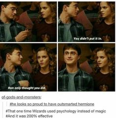 Harry Potter is proud that he was smarter than Hermione for once. I bet Hermione was thinking is this actually happening. Harry Potter World, Harry Potter Love, Harry Potter Fandom, Harry Potter Universal, Harry Potter Memes, Potter Facts, Harmony Harry Potter, Harry Potter Fun Facts, Drarry