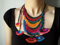 beaded freeform crochet necklace - statement necklace with orange, red, magenta pink, teal blue and green seed beads and crochet flowers by irregularexpressions   by irregular expressions