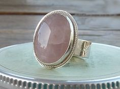 Rose Quartz cocktail ring statement  ring Gemstone ring by anakim, $128.00