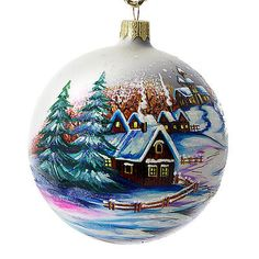 """""""Countryside"""" Hand Painted Christmas Ball. Made in Ukraine."""