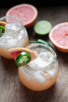 These grapefruit jalapeño margaritas are sweetened with honey and are perfect for Mother's Day, Cinco de mayo, or anytime!