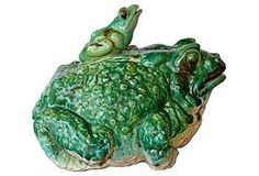 so cool for the garden ~ Frog & Toad Ceramic Lidded Pot