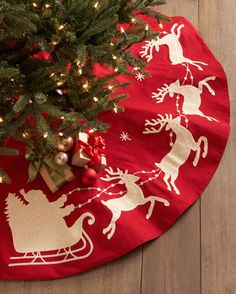 Traditional Red Santa and Sleigh Christmas Tree Skirt http://rstyle.me/~3aWa0