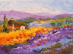 Fields of Lavender and Sunflowers  Impressionist by artbymarion, €50.00