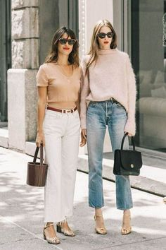 20 Matching Outfits to Wear With Your BFF – From Luxe With Love 20 Matching Outfits to Wear With Your BFF Looking for a matching outfit to wear with your best friend? Here are 20 chic ideas courtesy of the street style set. Mode Outfits, Casual Outfits, Fashion Outfits, Womens Fashion, Casual Friday Work Outfits, Easy Outfits, Denim Outfits, Jeans Fashion, Girly Outfits