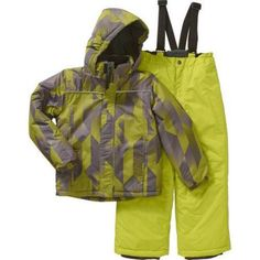 Iceburg Boys' Performance Insulated 2 Piece Snowsuit Jacket and Ski Bib Pants Set, Available in 5 Prints and 10 Colors, Size: 6/7, Green