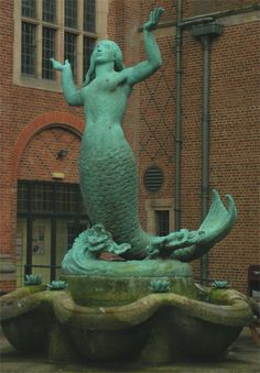 Bronze mermaid fountain outside the Guild of Students, University of Birmingham, England