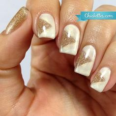 Off White With Gold Nail Art For Prom