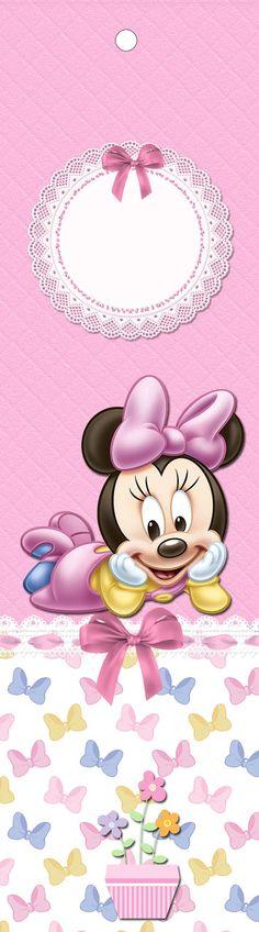 Kit Festa Minnie Baby Disney para imprimir gratuito, com rótulo guaraná caçulinha, rótulo chocolate baton e muitas caixinhas do tema Minnie Baby Disney para sua festa de Aniversário.