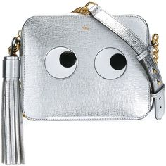 Anya Hindmarch Eyes Right Crossbody Bag (€800) ❤ liked on Polyvore featuring bags, handbags, shoulder bags, silver, crossbody purse, cross body, anya hindmarch shoulder bags, anya hindmarch purse and anya hindmarch