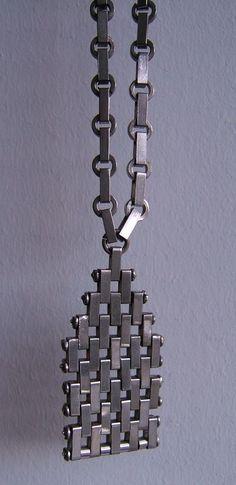 STYLISH MODERNIST VINTAGE ART DECO JAKOB BENGEL MAERWORK CHROME PENDANT NECKLACE #JAKOBBENGEL