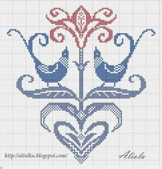 heart and birds cross stitch chart