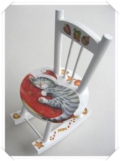 Hand painted cat and decorated rocking chair is absolutely gorgeous. Hand Painted Chairs, Funky Painted Furniture, Decoupage Furniture, Colorful Furniture, Paint Furniture, Furniture Makeover, Furniture Chairs, Painted Tables, Black Furniture