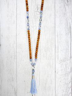 Pin it for later! The PixSea Mala - Sandalwood, Angelite and Quartz Mala Kamala Mala Beads - Boho Malas, Mala Beads, Yoga Jewelry, Meditation Jewelry, Mala Necklaces and Bracelets, Childrens Malas, Bohemian Jewelry and Baby Necklaces