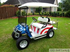 custom lifted 2000 EZGO 4-passenger golf cart - CKDgolfcarts.com