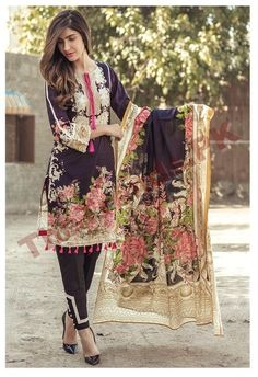 Firdous Lawn Eid Collection 2017 Designs with Embroidery Fabric Pakistani Dresses Casual, Pakistani Dress Design, Indian Dresses, Indian Outfits, Casual Dresses, Pakistani Lawn Suits, Salwar Suits, Salwar Kameez, Regal Design