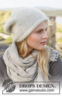 "Knitted DROPS roll edge hat in ""Alpaca"" and ""Kid-Silk"". ~ DROPS Design free pattern"