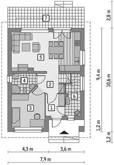 Projekt domu Murator EC256 Gładki (z wentylacją mech. i rekuperacją) 96 m2 - koszt budowy 158 tys. zł - EXTRADOM Floor Plans, House, Houses, Home, Haus, House Floor Plans