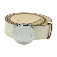 Louis Vuitton White Epi Leather Silver Round Buckle Belt LB4428-587