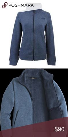 """Crescent Full-Zip Fleece Jacket SMALL Shady Blue New with tags. North Face full-zip crescent jacket.  Size small Color """"Shady Blue Heather""""  Super soft inner with zip outer pockets and two hidden inside drop pockets. The North Face Jackets & Coats"""
