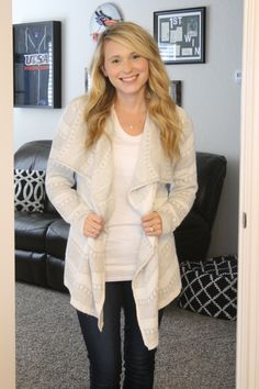 This sweater could be dressed up for work or down for a casual weekend. Really loving the neutral color.