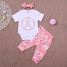 5eaff4e13dea 2019 Mikrdoo 2018 Summer Baby Clothes White Short Sleeve Letter Printed  Romper Floral Pant Headband Outfit For 0 24M Sweet Cotton Cute Set From  Mikrdoo