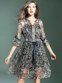 Casual V-Neck Flare Sleeve Floral Print Skater Dress from DressSure.com #dresssure #fashion #dresses #HighQuality