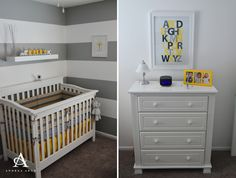 This white crib + dresser from @baby cache work so great against this yellow and gray nursery. #munire #pinparty #MadeinUSA