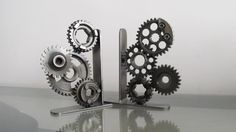 Harley Davidson Motorcycle Gear Bookends Pair by TabDesign on Etsy