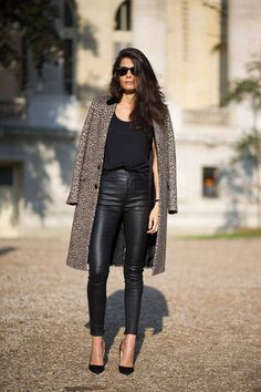 New take on wearing leather to the office - leather pants + chic long  grey coat.