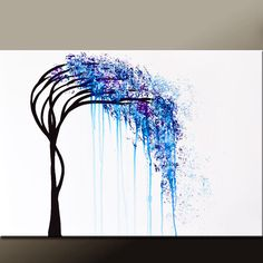Abstract Canvas Tree Art Painting 36x24 Original Contemporary Landscape Art by Destiny Womack - dWo - The Weeping Willow #weepingwillow