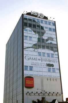Another example of IMC. Game of Thrones had traditional signs and banners like they would on a billboard, but used a more exciting medium to display them.