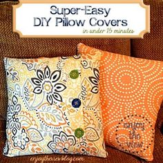 Super-Easy DIY Pillow Covers in less than 15 minutes! I'm serious - even if you can't sew, you can make these pillow covers! #diy #tutorial #pillows #pillowcovers #enjoytheviewblog