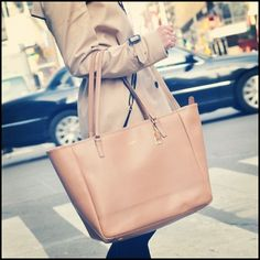 Coach Saffiano Medium City Tote in Light Pink