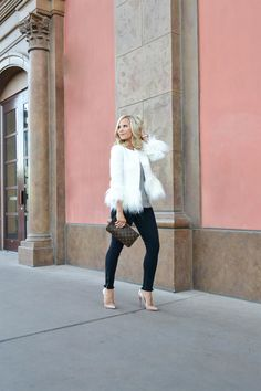 fur trimmed jacket in white, Holiday Party Look, fun holiday look
